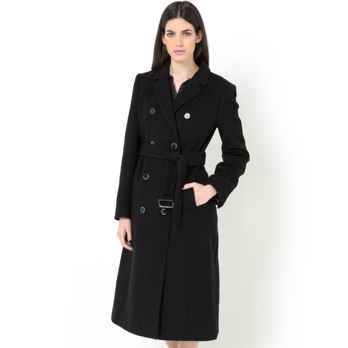 LAURA CLEMENT Пальто полудллинное с поясом из шерстяного велюра