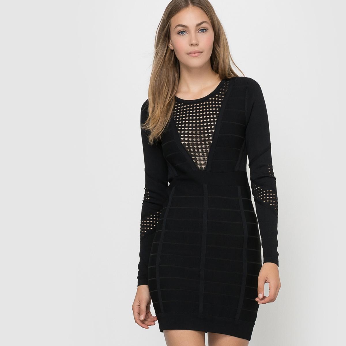 Платье ажурное с длинными рукавами DUO DANNI KNITS LS RDNK DRESS french connection one shoulder maxi dress в москве