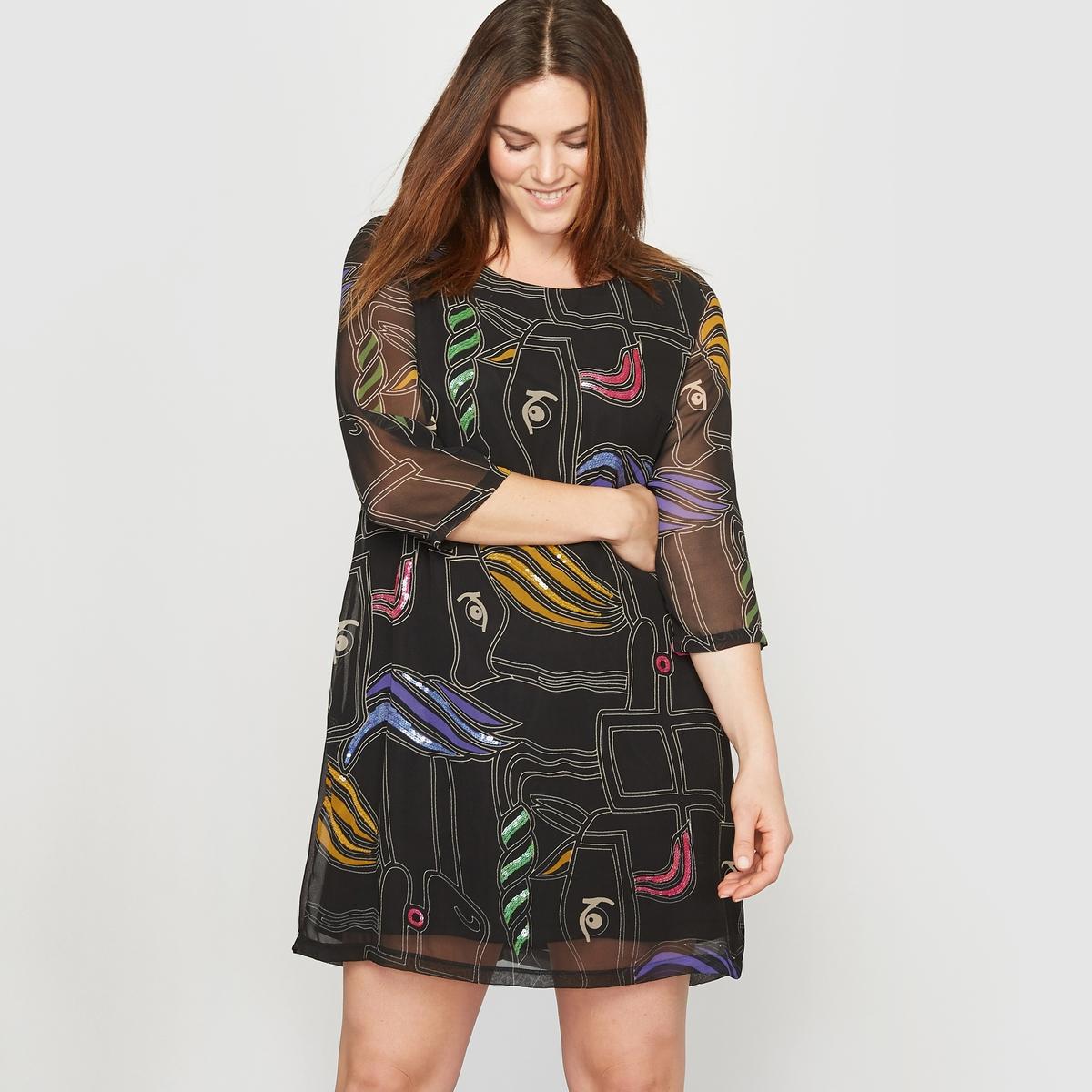 Платье с рисункомЗастежка на скрытую молнию сзади.      Состав и описание :Материал :Вуаль под креп 100 % полиэстера, корпус на подкладке из трикотажа 100 % полиэстера .Длина : 93 см. Марка : CASTALUNA.Уход : Машинная стирка при 30°.<br><br>Цвет: рисунок/черный фон/разноцветный<br>Размер: 42 (FR) - 48 (RUS).50 (FR) - 56 (RUS)