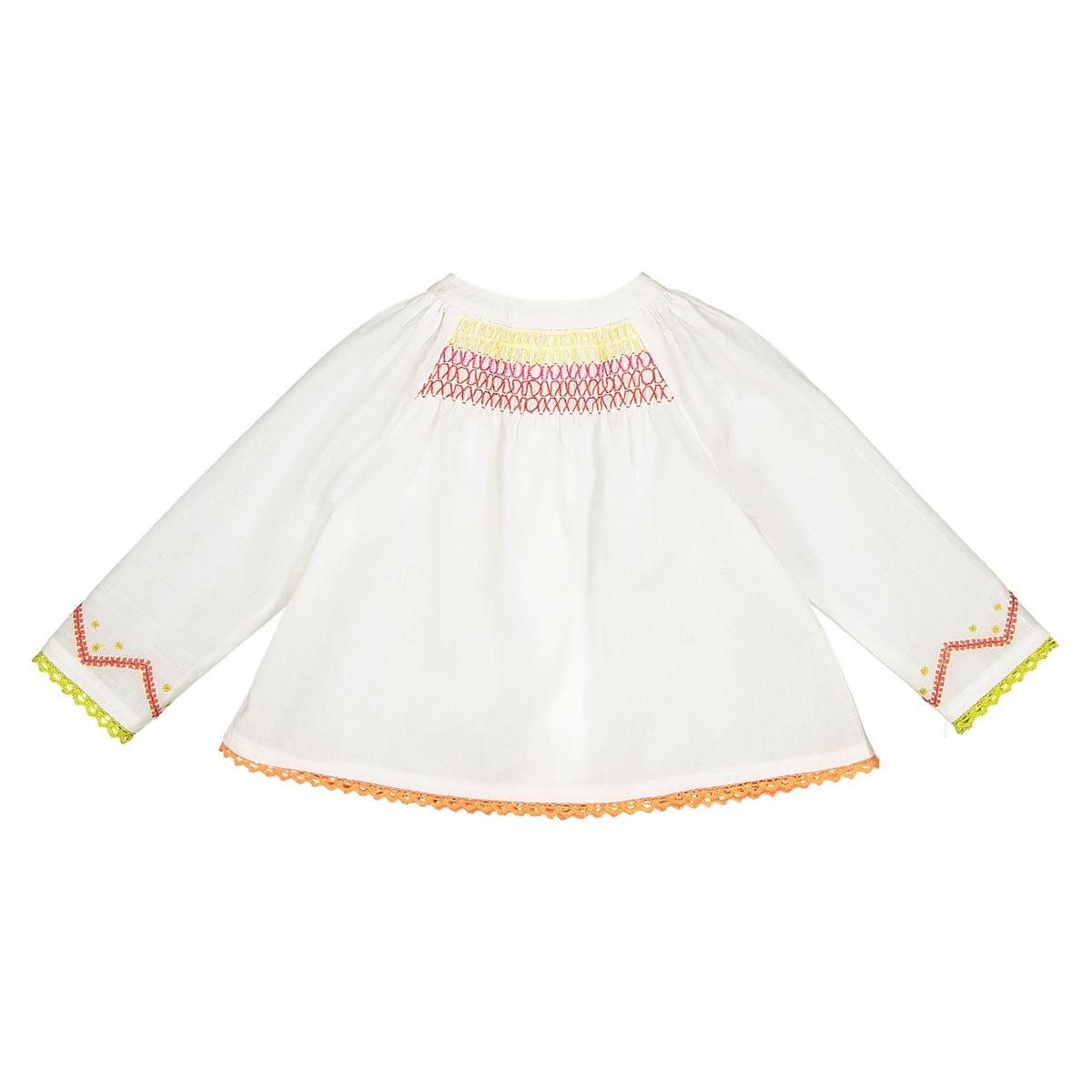 Блузка La Redoute С длинными рукавами и вышивкой 6 мес. - 67 см бежевый блузка la redoute с вышивкой гладью мес года 6 мес 67 см другие