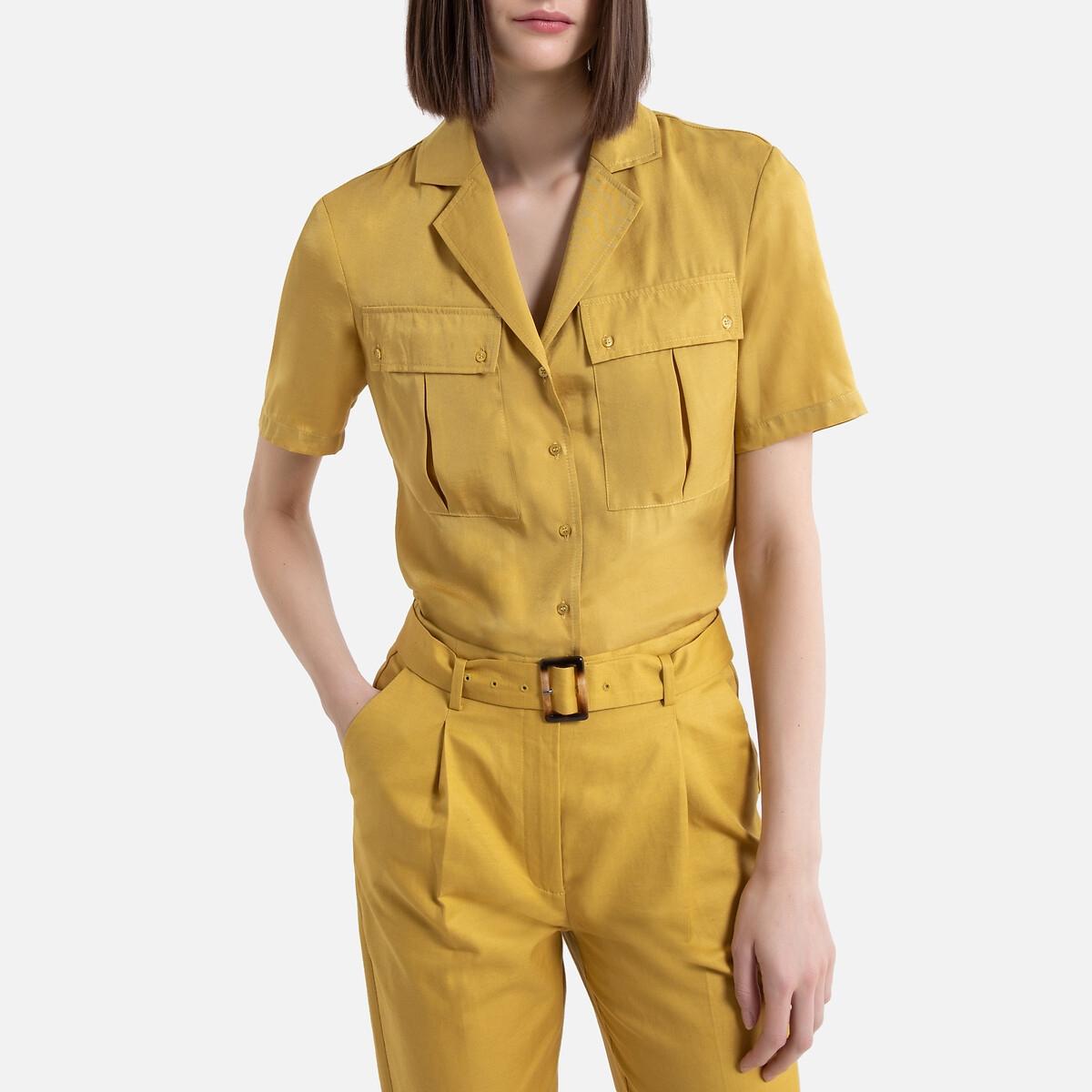 Camisa con cuello sastre de manga corta