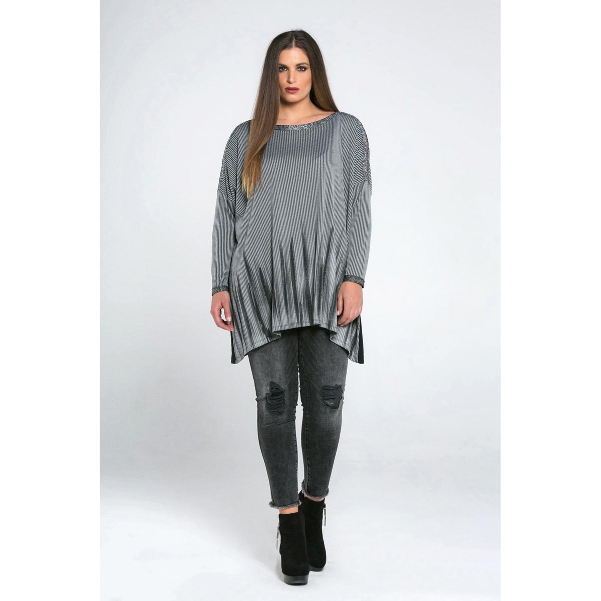 Пуловер с круглым вырезом из тонкого трикотажа