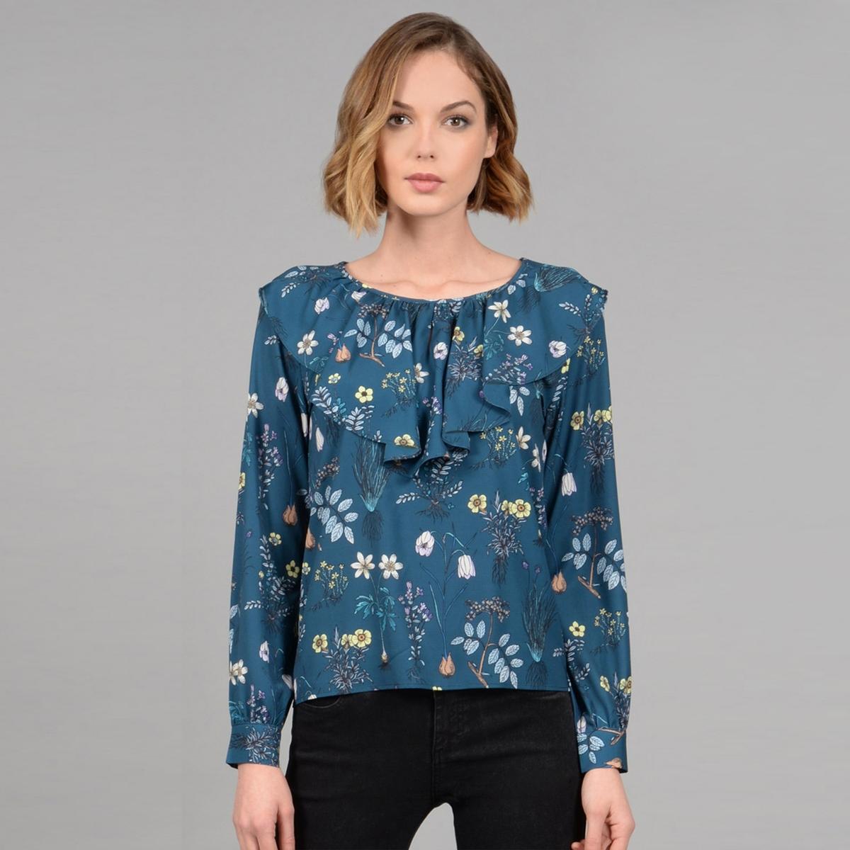 Блузка в воланами с длинными рукавами блузка в клетку с воланами и длинными рукавами check