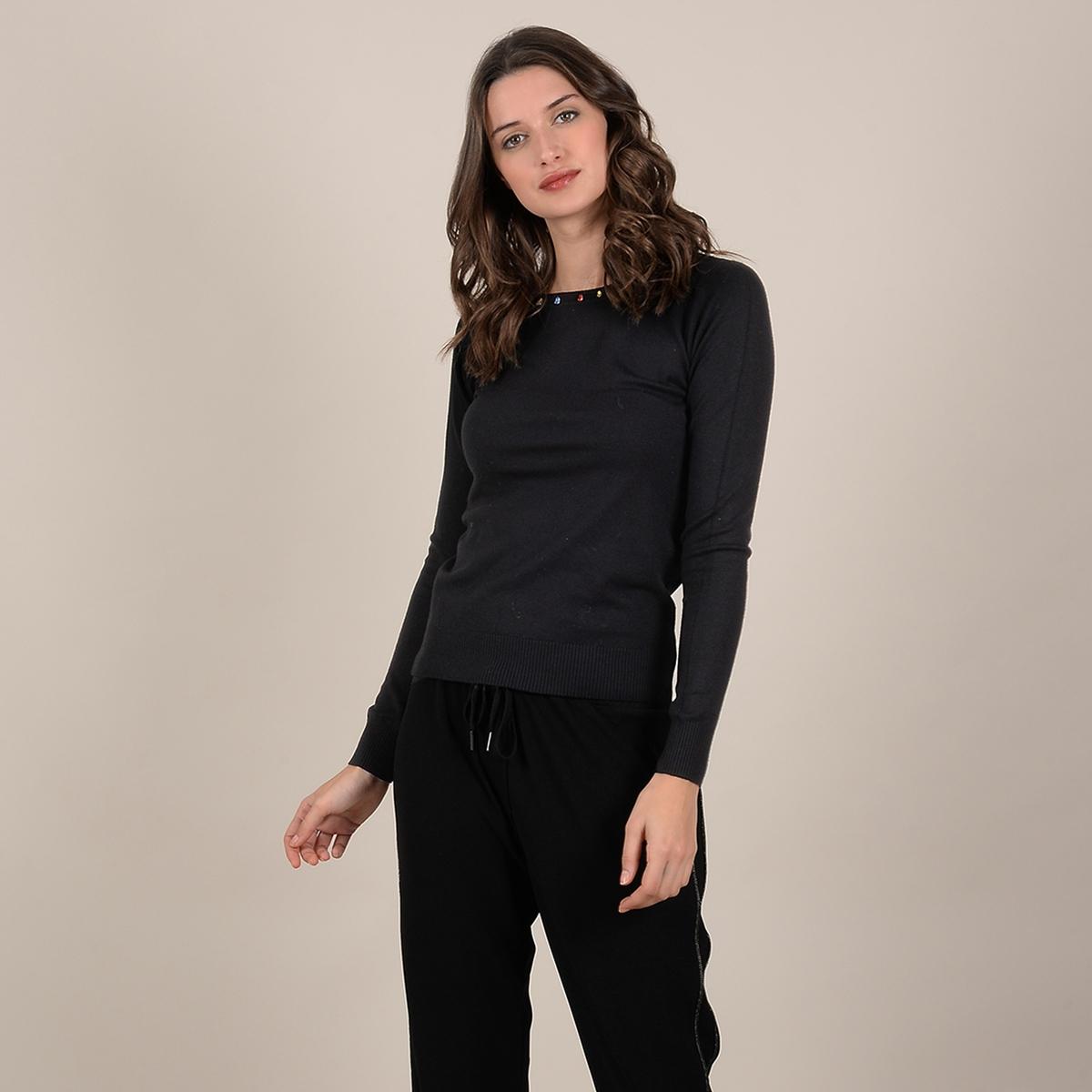Пуловер La Redoute Из тонкого трикотажа с бусинами на вырезе M черный