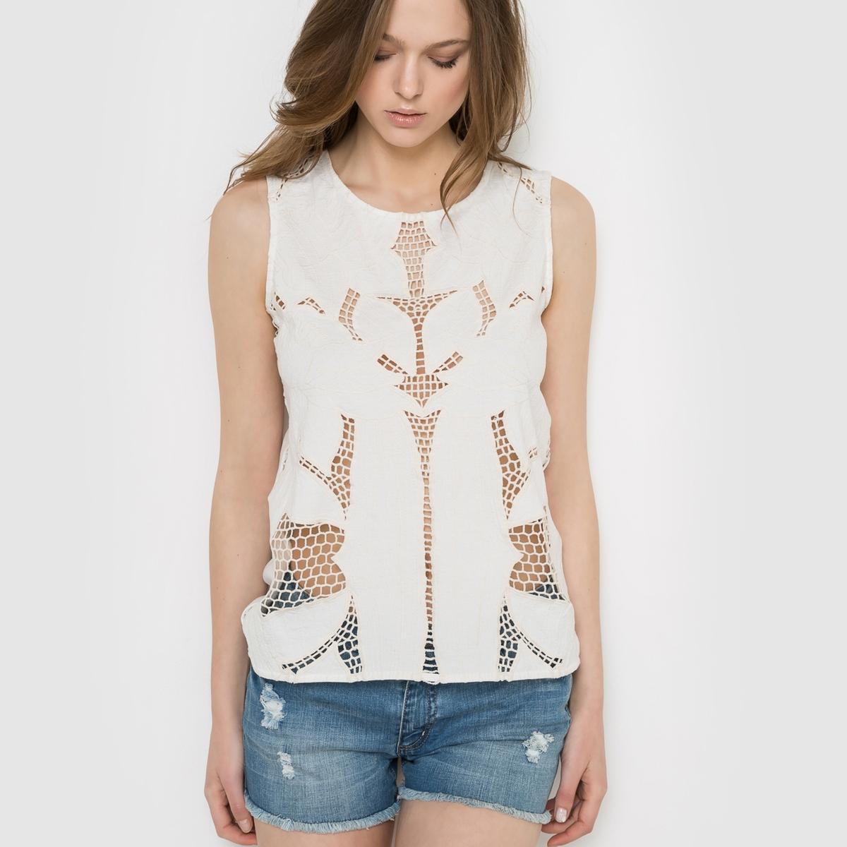 Блузка без рукавов с ажурной вышивкой VERO MODA REGINAСостав и описание :Материал : 100% хлопокМарка : VERO MODA<br><br>Цвет: белый