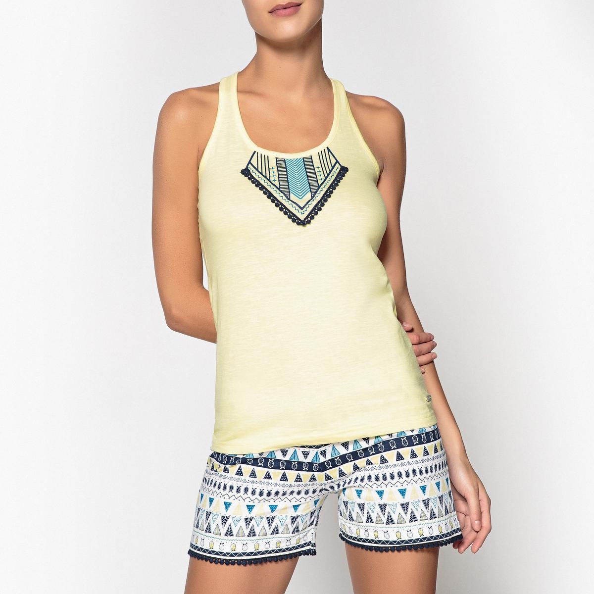 Пижама с шортами из хлопка с этническим рисунком и помпонами, Wax ботинки блестящие с помпонами 19 24