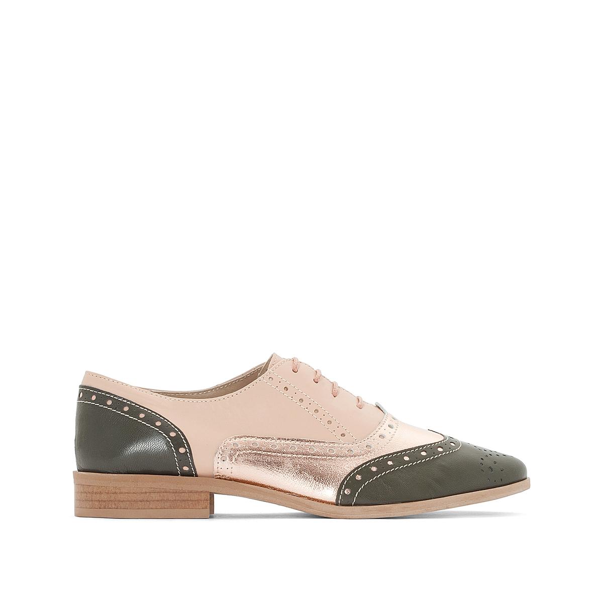 Ботинки-дерби из кожи с цветочным узором