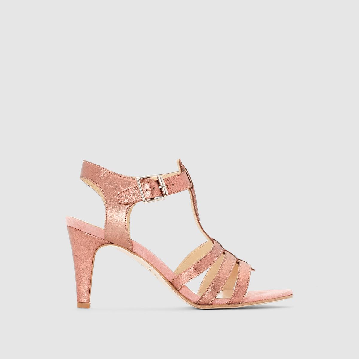 Туфли кожаные с ремешком вокруг щиколоткиПреимущества  : элегантные туфли JONAK великолепно сидят на ноге благодаря ремешку вокруг щиколотки<br><br>Цвет: розовый<br>Размер: 38