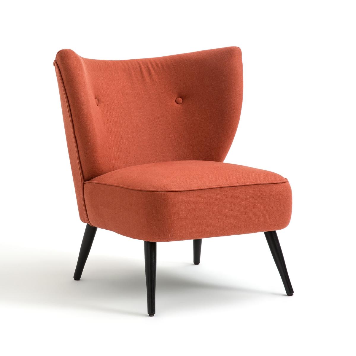 Кресло LaRedoute Franck с обивкой из льна единый размер красный