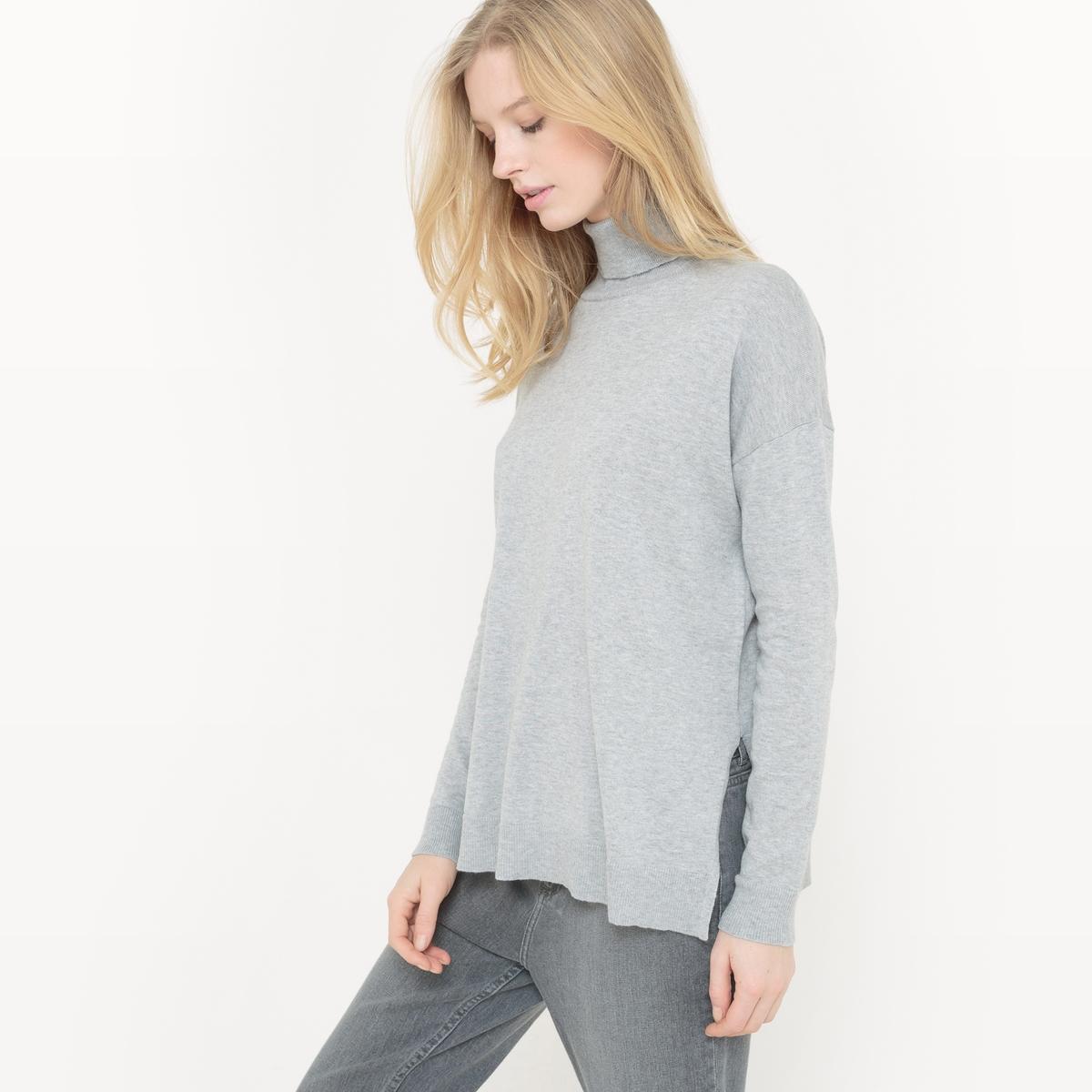 Camisola com gola alta, algodão/seda