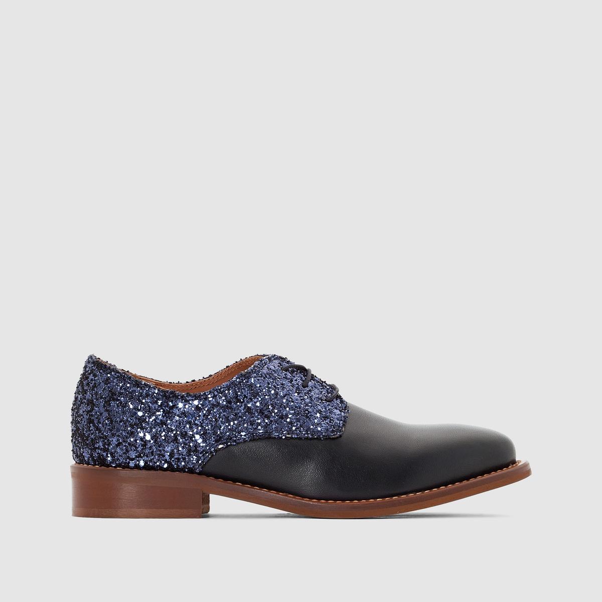 Ботинки дерби кожаные с блестками DesirПодкладка : Кожа. Стелька : Кожа. Подошва : Эластомер Высота каблука : 2 см Форма каблука : Плоская Мысок : Закругленный Застежка : Шнуровка<br><br>Цвет: синий