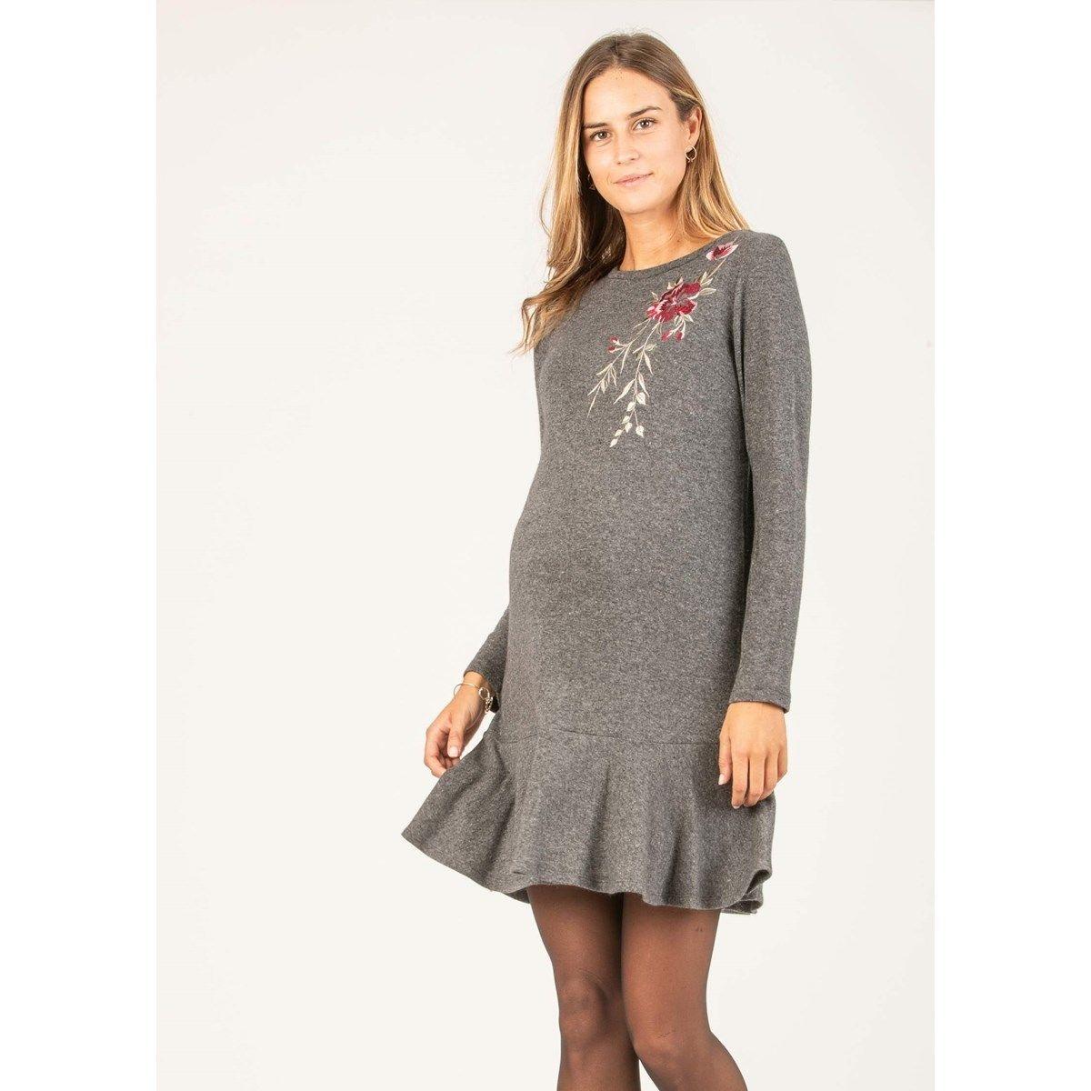 Robe de grossesse en laine avec broderie floral