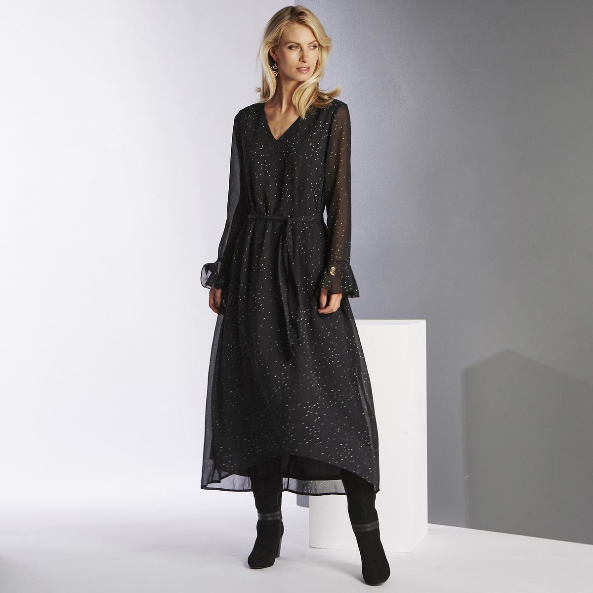 Imagen secundaria de producto de Vestido largo en asimetría, estampado, de manga larga - Anne weyburn
