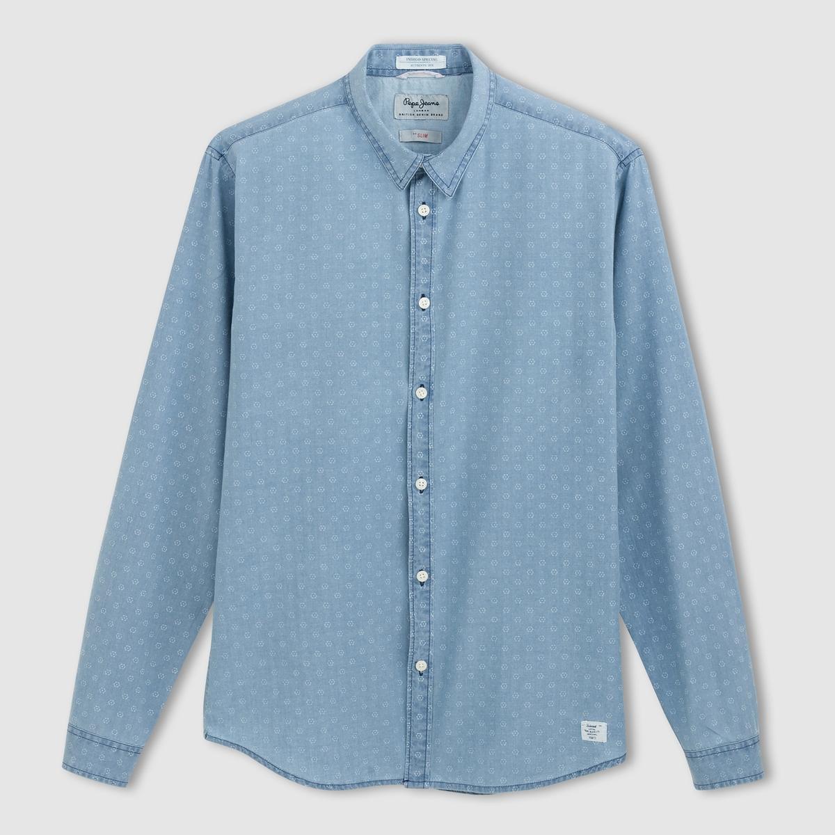 Рубашка с длинными рукавами CAUFIELDРубашка CAUFIELD de PEPE JEANS®        Длинные рукава .                   Мелкий рисунок на легком дениме, 100% хлопка. Воротник с уголками.<br><br>Цвет: светлый индиго<br>Размер: L
