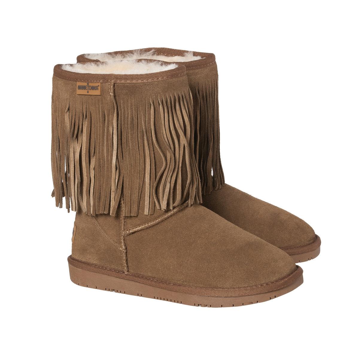 Ботинки с бахромой на подкладке из мутона ботинки кожаные с бахромой
