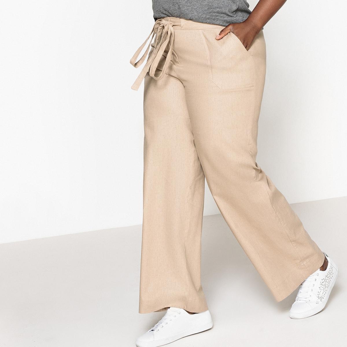 Брюки широкие из льна и вискозы брюки из лиоцелла и льна