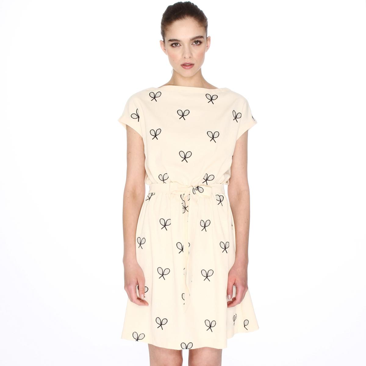 Платье с короткими рукавами и вышивкой теннисные ракетки платье с короткими рукавами расклешенного покроя pepaloves dress cruz