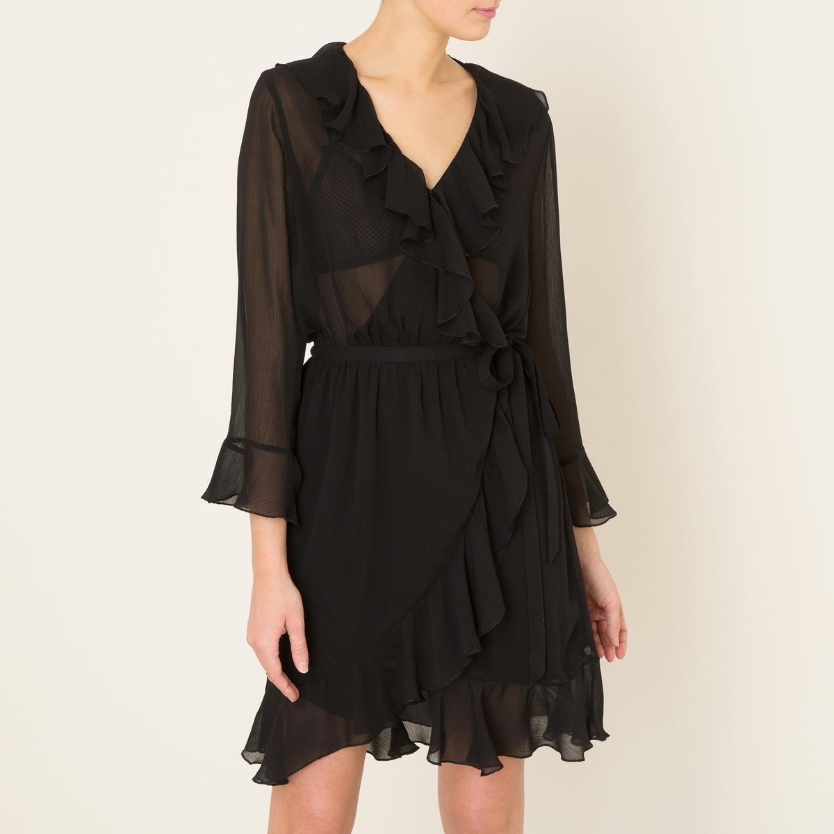 Платье с запахом и воланамиСостав и описание    Материал : 100% полиэстер   Марка : MAISON SCOTCH<br><br>Цвет: черный