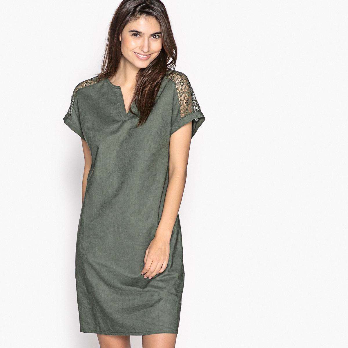 Платье прямое из льна и хлопка платье 100% льна