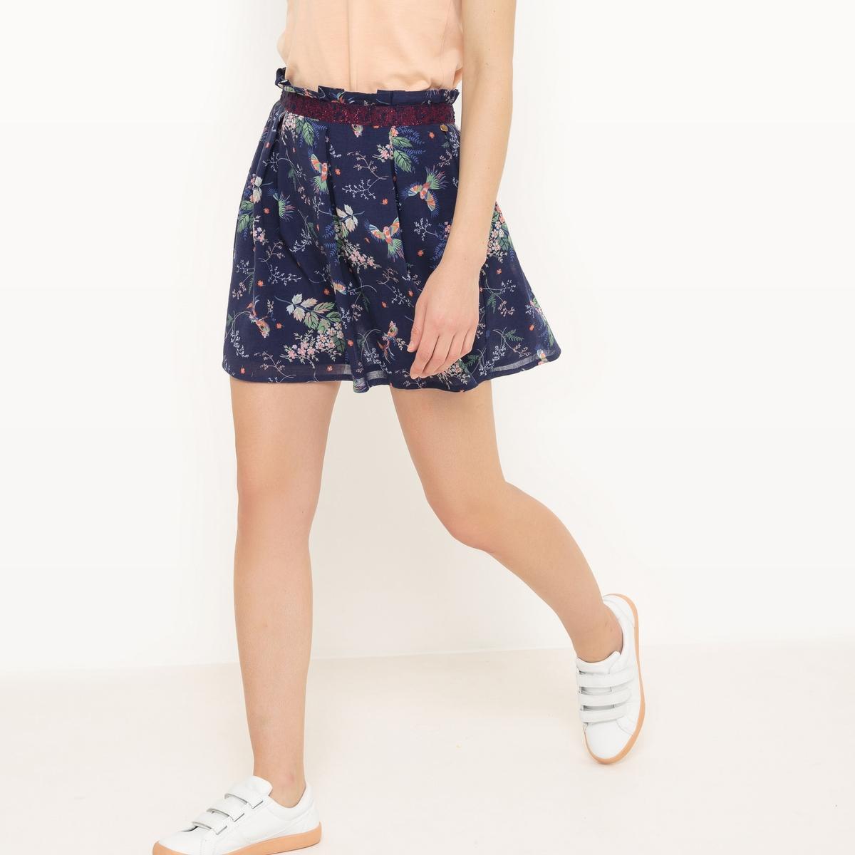 Юбка короткая, прямая, с рисункомМатериал : 100% хлопок  Рисунок : принт Длина юбки : укороченная модель<br><br>Цвет: синий/наб. рисунок