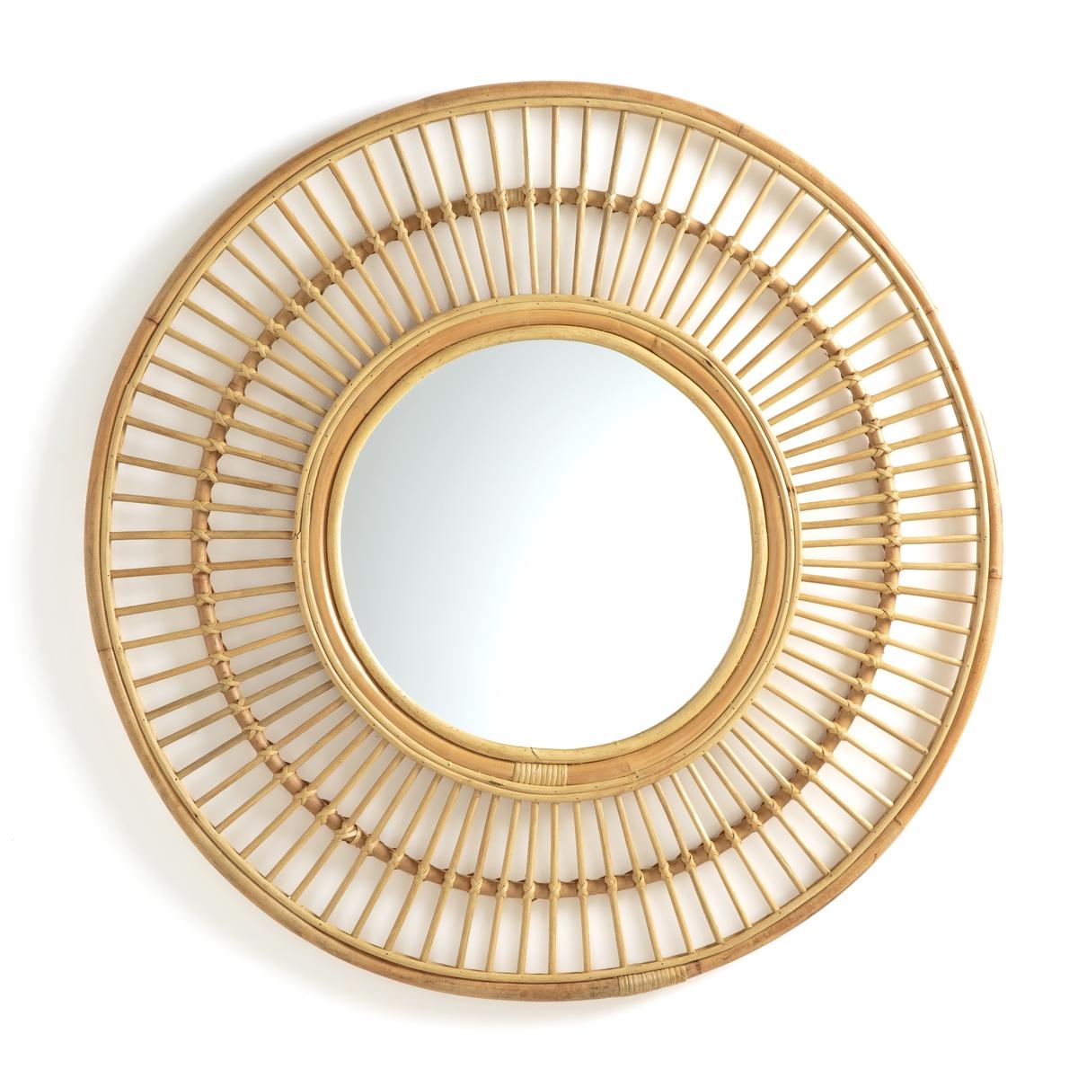 цена Зеркало La Redoute Круглое из ротанга см Nogu единый размер бежевый онлайн в 2017 году