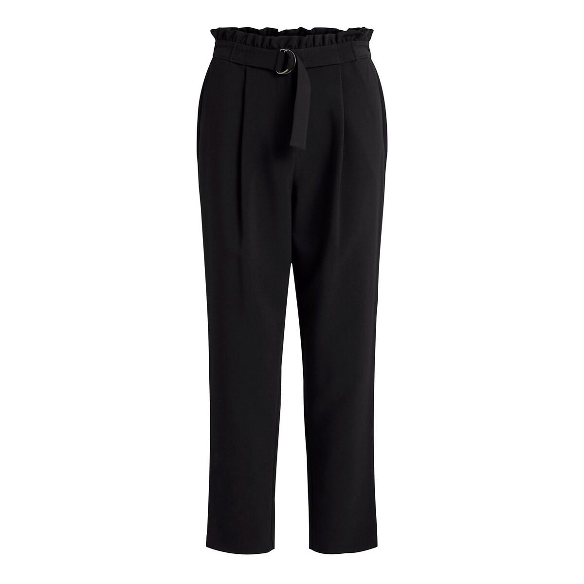 Фото - Брюки La Redoute С высоким поясом и ремешком 38 (FR) - 44 (RUS) черный брюки la redoute из денима с высоким поясом 34 fr 40 rus зеленый