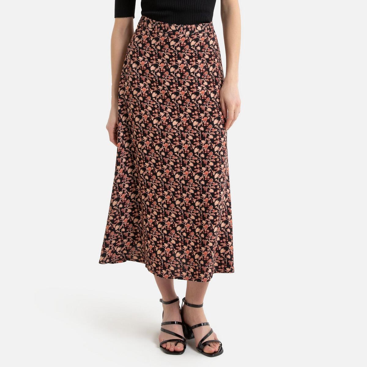 Юбка La Redoute Длинная расклешенная с цветочным рисунком 34 (FR) - 40 (RUS) черный юбка la redoute короткая расклешенная с цветочным рисунком и оборками на поясе xs бежевый