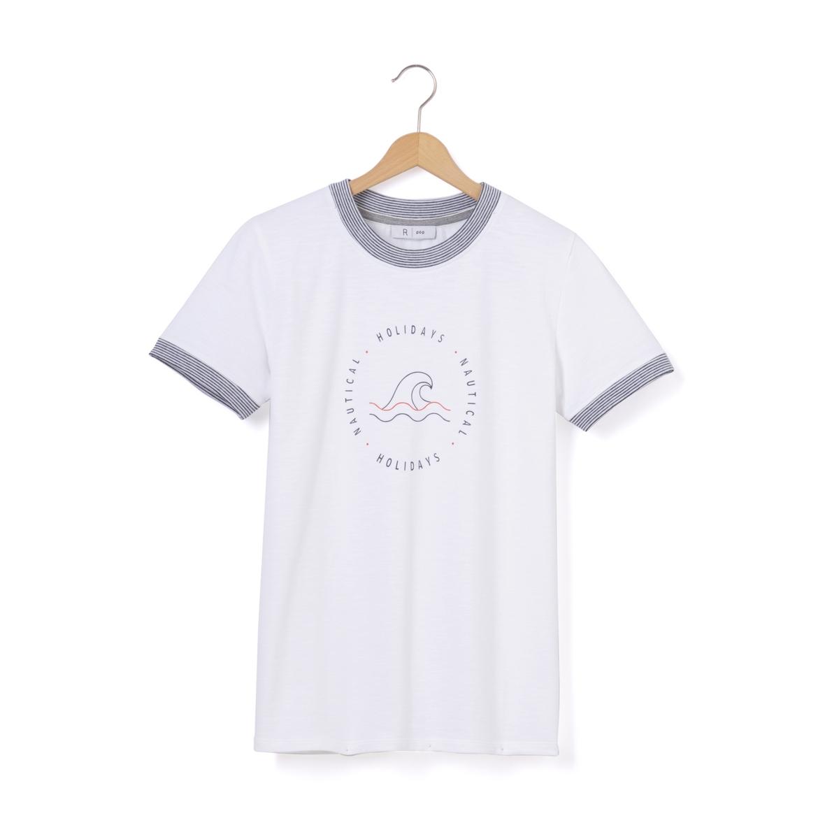 Футболка с круглым вырезом, рисунком и короткими рукавами футболка с круглым вырезом рисунком и короткими рукавами