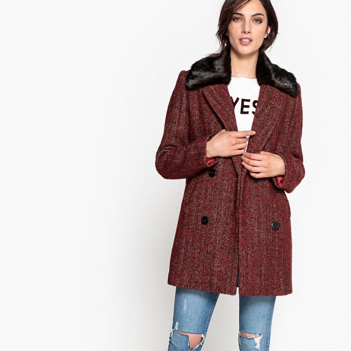 Полупальто с воротником из искусственного меха пальто из меха норки с отделкой мехом енота
