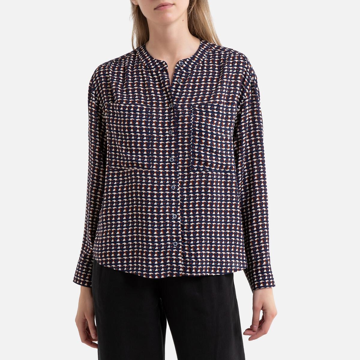 Блузка La Redoute С рисунком с длинными рукавами 2(M) синий блуза la redoute с рисунком и длинными рукавами s синий