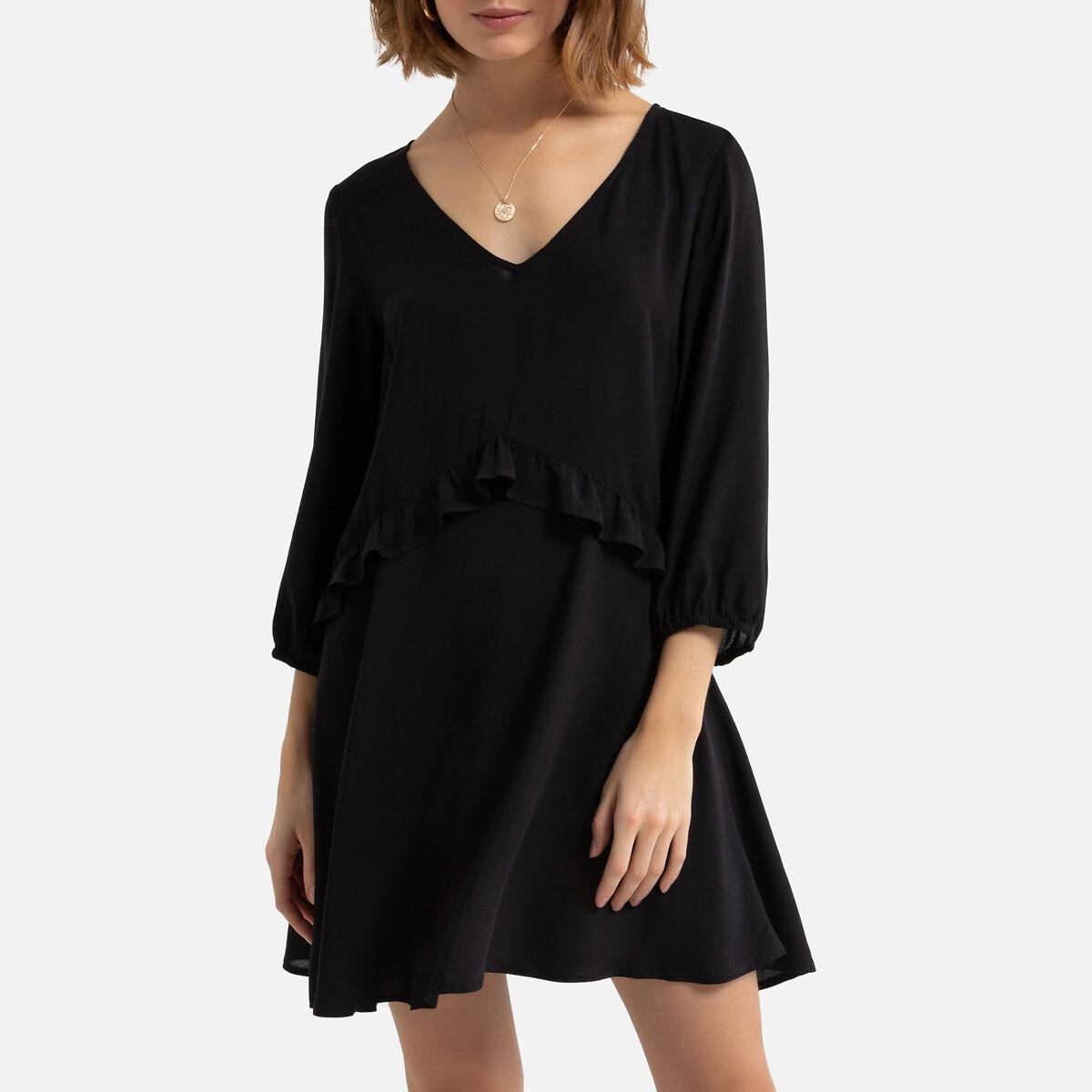 Платье La Redoute Расклешенное с длинными рукавами вставки с воланами 34 (FR) - 40 (RUS) черный бушлат la redoute с рисунком клетка 34 fr 40 rus синий