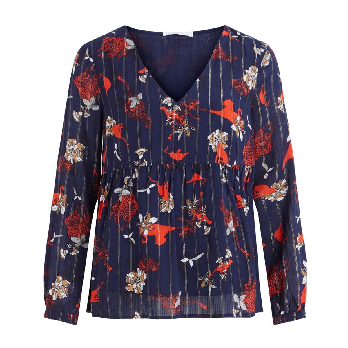 Блузка LaRedoute С принтом V-образным вырезом с цветочным принтом Viamollon 36 (FR) - 42 (RUS) синий блузка la redoute с рукавми и v образным вырезом 36 fr 42 rus синий