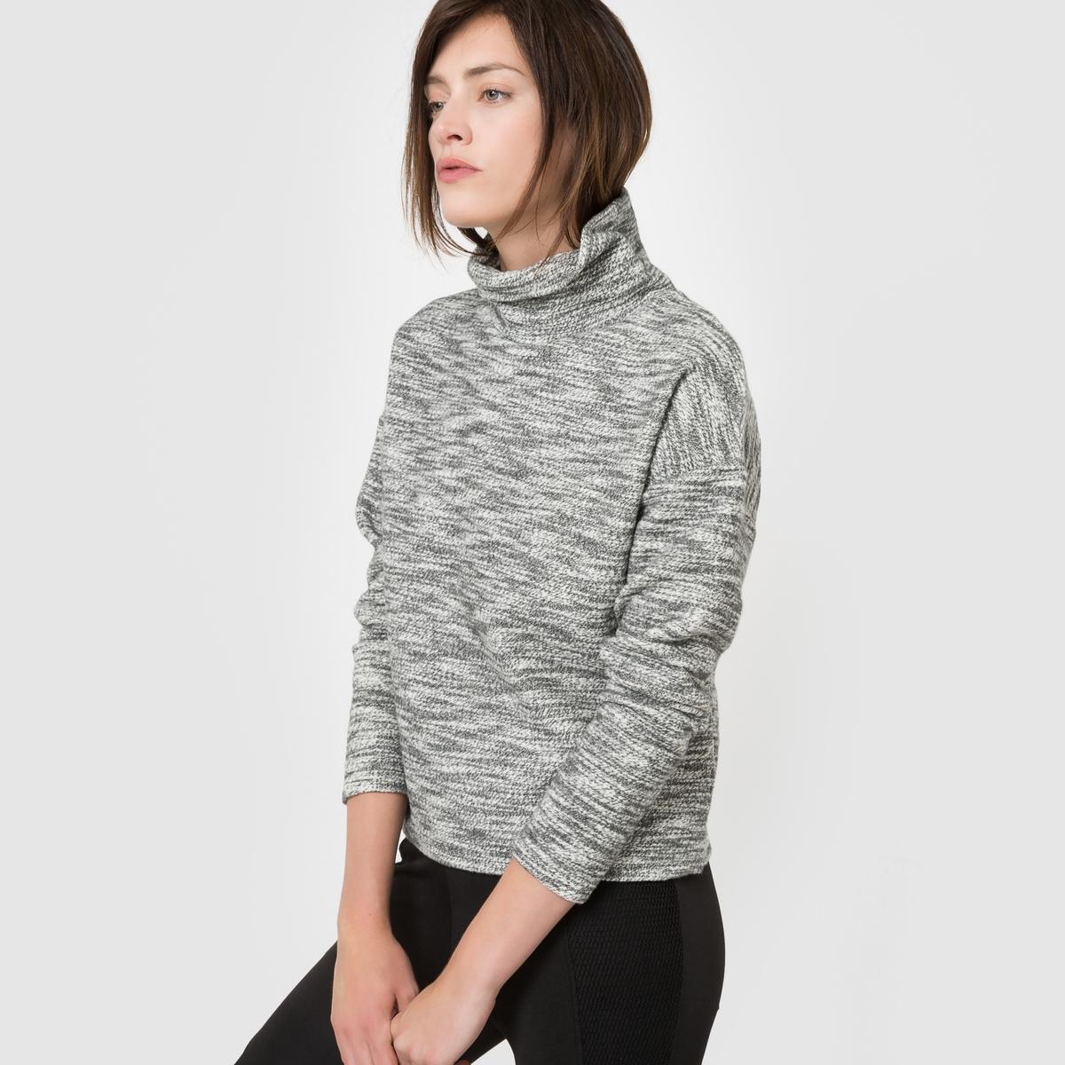 Пуловер с высоким воротникомСостав и описаниеМарка : R Essentiel.Материал: 90% хлопка, 10% полиэстера.Длина: 58 см.УходМашинная стирка при 30°C в деликатном режимес вещами схожих цветов.Машинная сушка запрещена.<br><br>Цвет: серый меланж