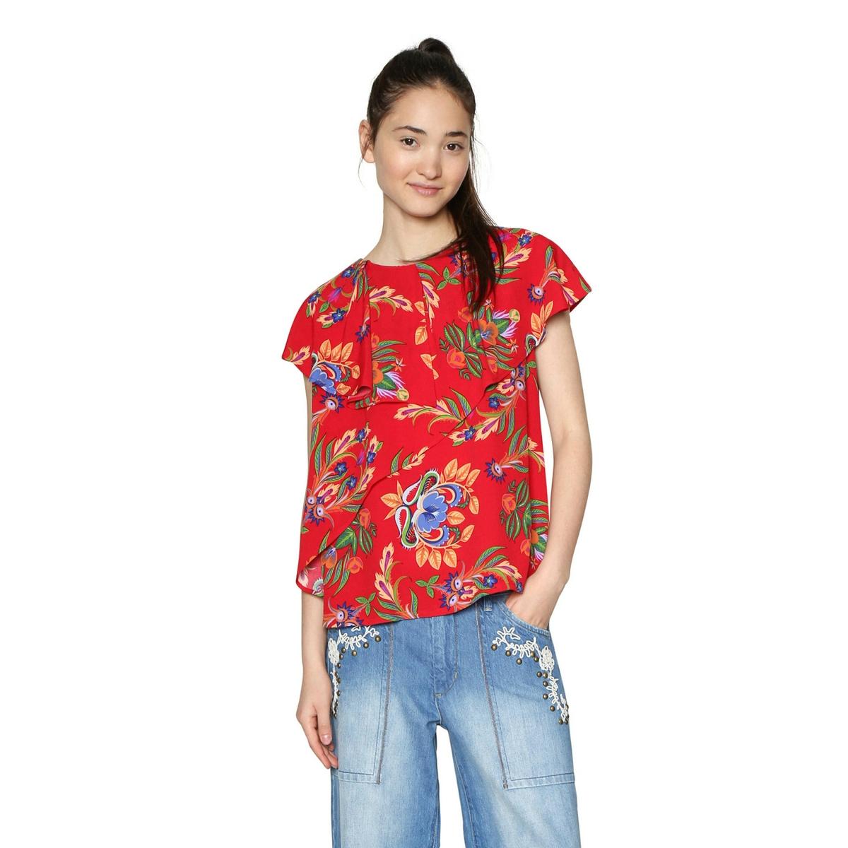 Блузка с круглым вырезом, графическим рисунком и короткими рукавами платье с короткими рукавами на поясе двухцветное desigual vest roxana