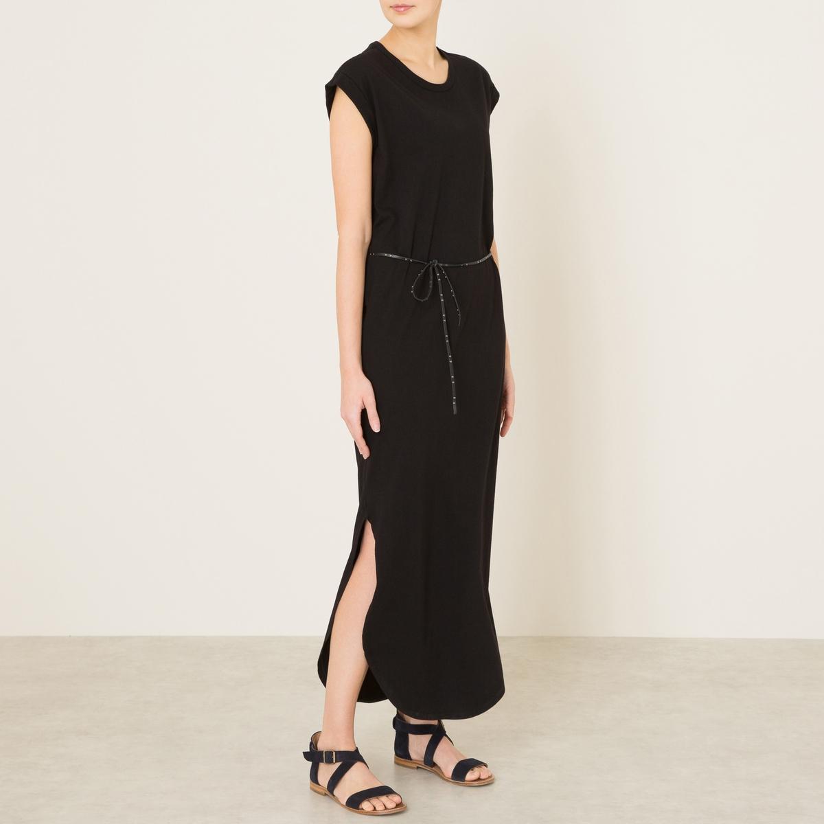 Платье длинное с поясомСостав и описание Материал : 100% хлопокДлина : ок. 140 см. для размера 36Марка : MAISON SCOTCH<br><br>Цвет: черный