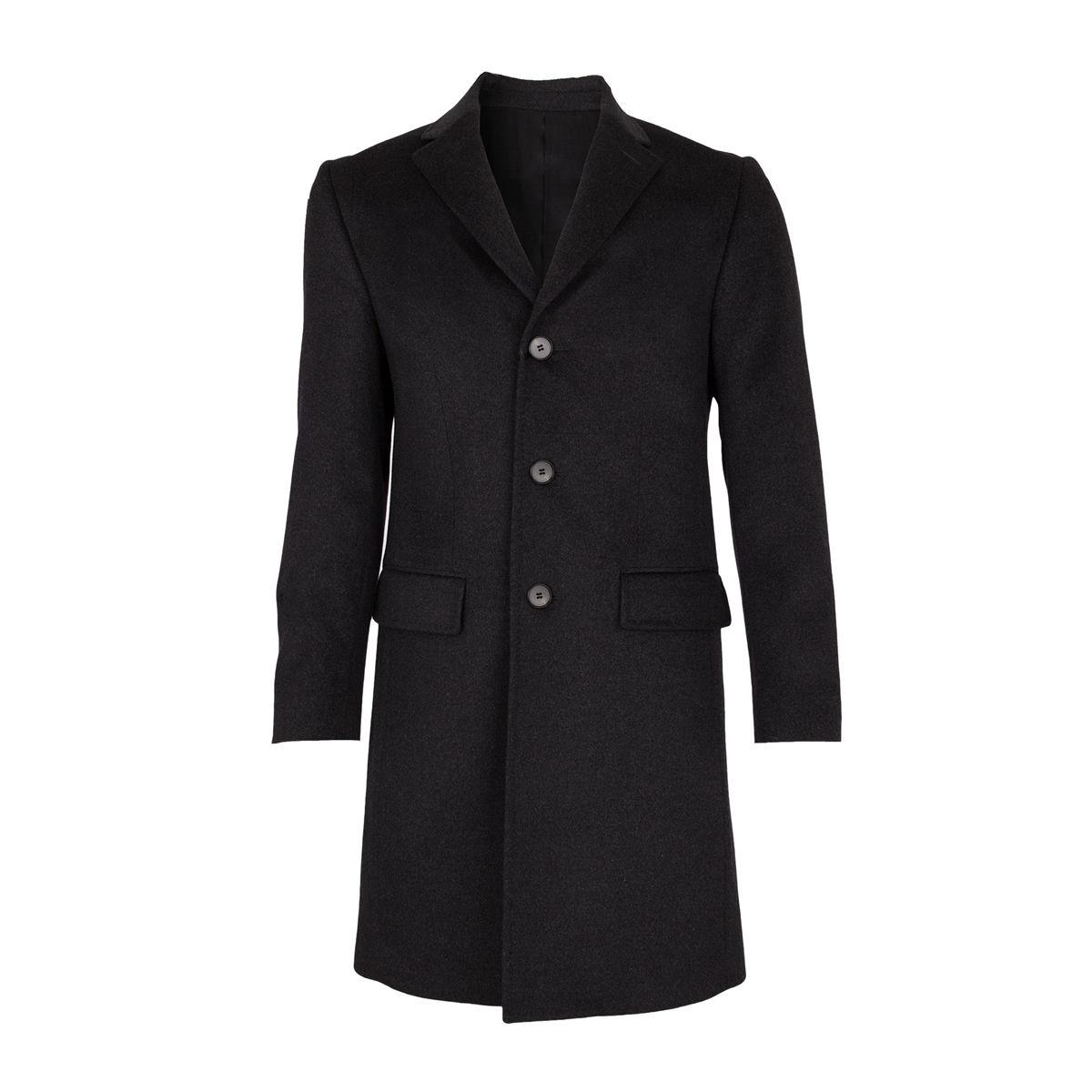 Manteau laine et Cachemire trois Quart Gris anthracite