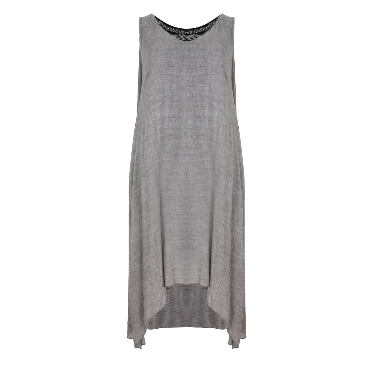 ПлатьеПлатье с драпировкой MAT FASHION. Свободный покрой со складками по бокам. Без рукавов. Закругленный вырез  . Украшение из ткани контрастного черного цвета сзади. 100% вискоза<br><br>Цвет: серый