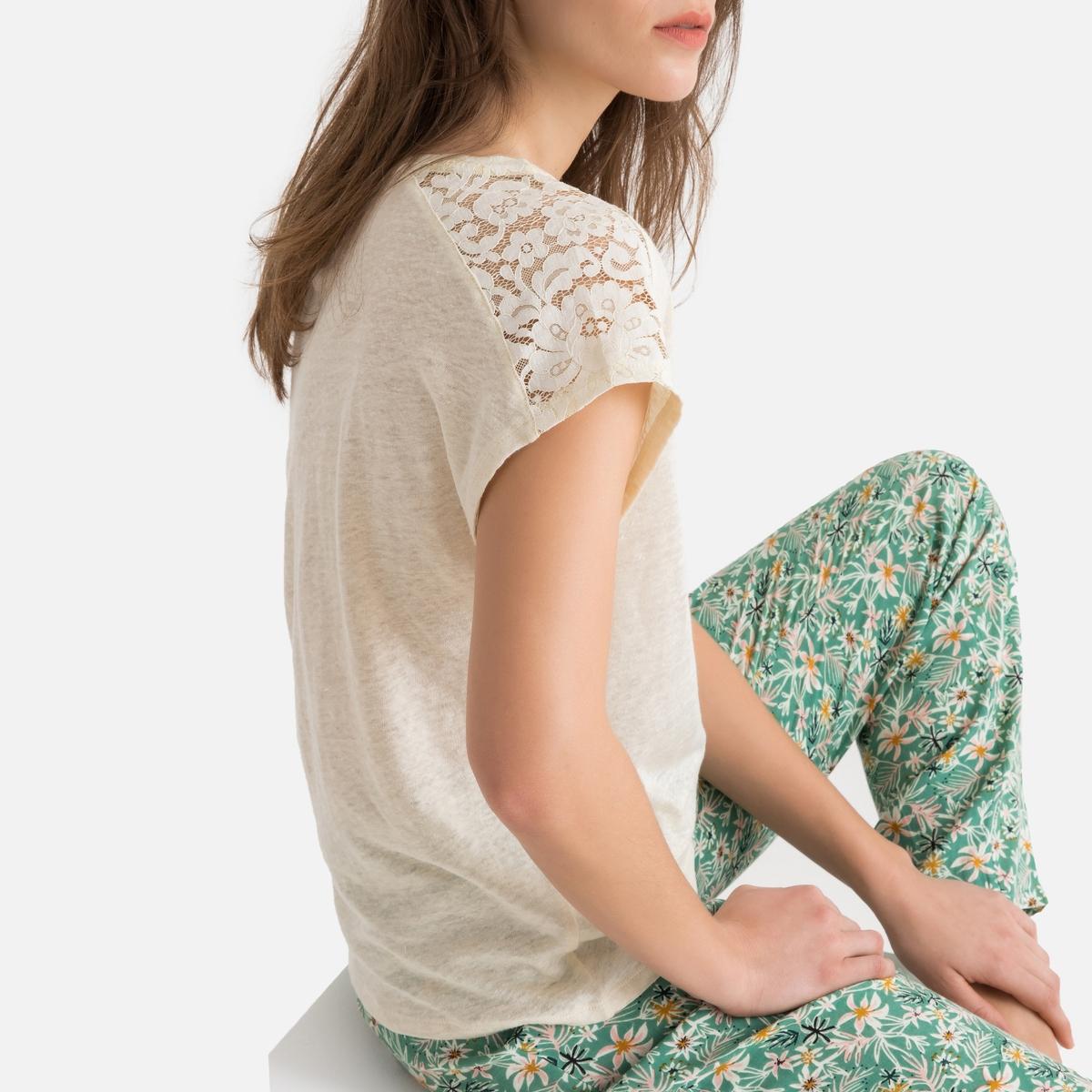 T-shirt de pijama em linho, detalhe em renda