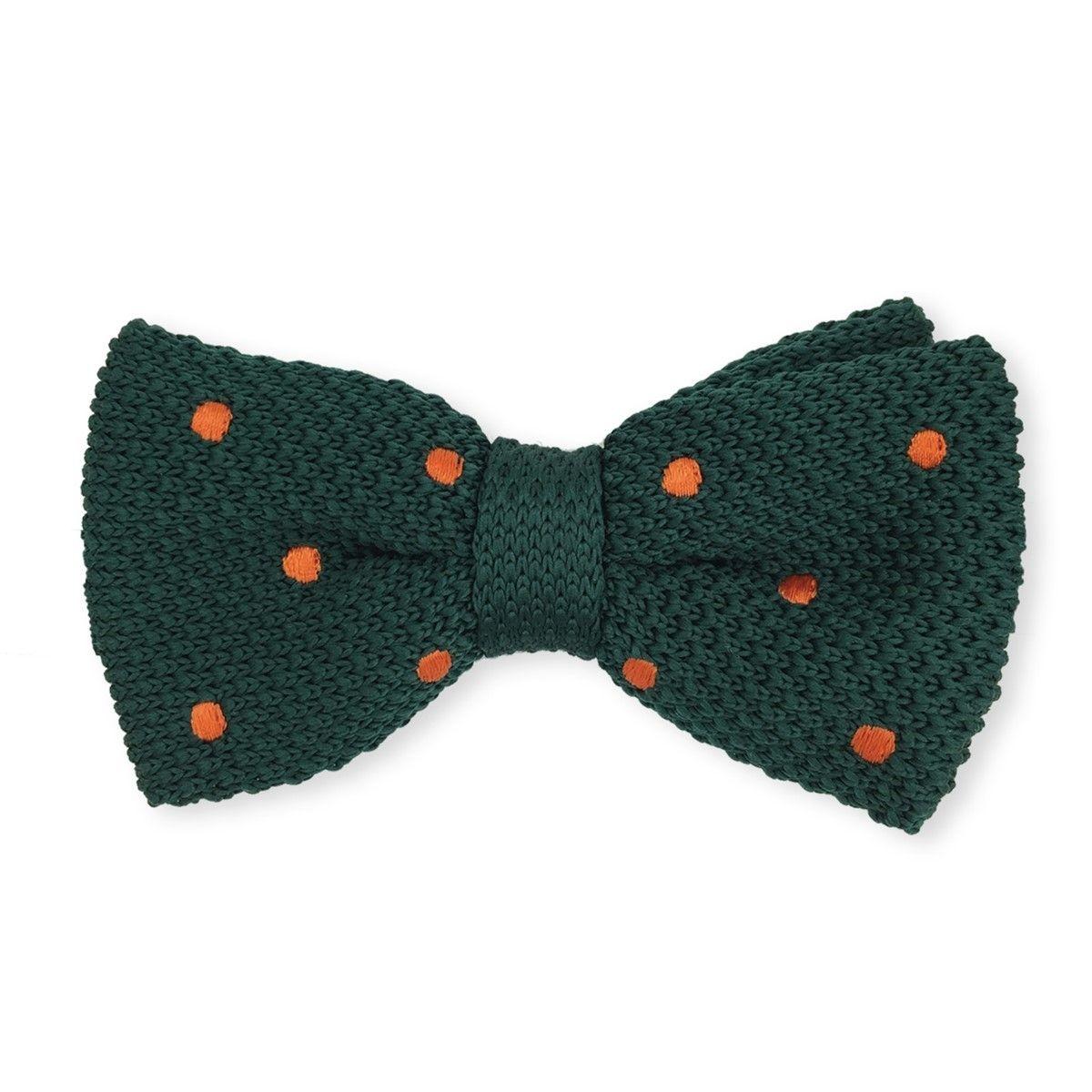 Noeud papillon tricot à pois orange