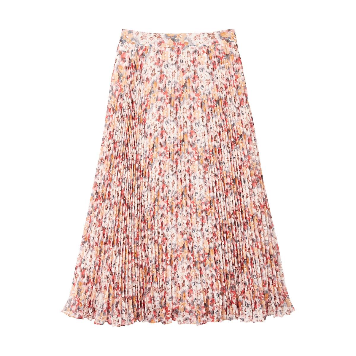 Falda larga plisada con estampado de flores