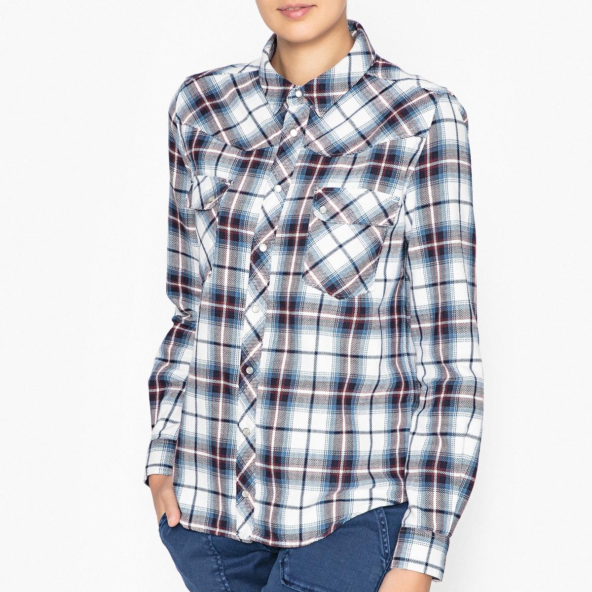 Рубашка в клетку TBRIDGETРубашка BA&amp;SH - модельTBRIDGET с клетчатым рисунком и вставками на плечах.Детали   •  Длинные рукава  •  Прямой покрой  •  Воротник-поло, рубашечный  •  Рисунок в клетку Состав и уход   •  100% хлопок  •  Следуйте советам по уходу, указанным на этикетке •  2 накладных кармана на груди •  Манжеты на пуговицах<br><br>Цвет: белый/ синий