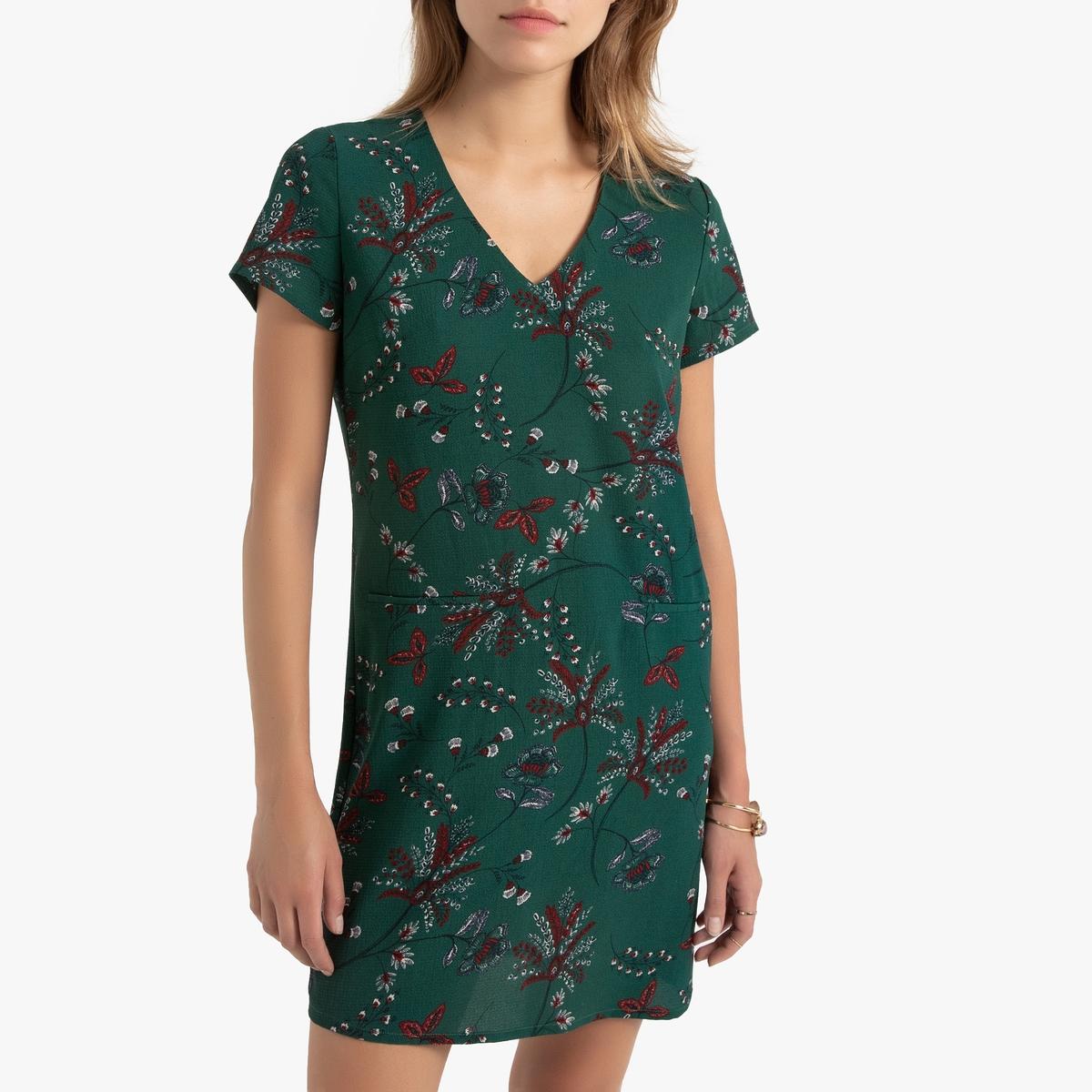 Платье La Redoute Прямое с цветочным рисунком и короткими рукавами 36 (FR) - 42 (RUS) зеленый платье la redoute прямое с цветочным рисунком и короткими рукавами 36 fr 42 rus зеленый