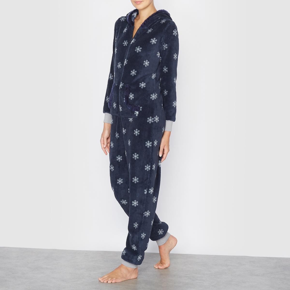 Пижама-комбинезон с капюшоном и рисунком хлопья