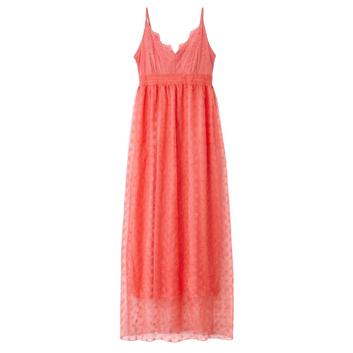 Платье длинное с тонкими бретелямиМатериал : 42% хлопка, 58% полиамида  Подкладка : 49% хлопка, 51% полиамида  Длина рукава : тонкие бретели   Форма воротника : V-образный вырез  Покрой платья : длинное платье  Рисунок : однотонная модель Длина платья : длинное<br><br>Цвет: коралловый