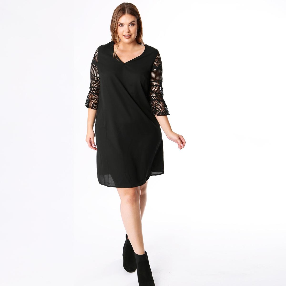 Платье с V-образным вырезом, воланами и рукавами 3/4 туника с однотонным v образным вырезом с длинными рукавами с воланами