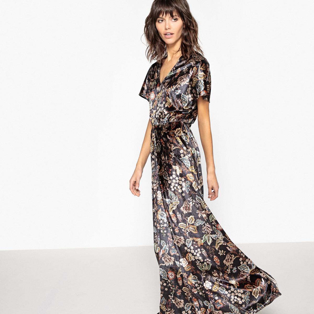 Платье длинное из велюра с цветочным принтом платье длинное из трикотажа с цветочным принтом короткие рукава
