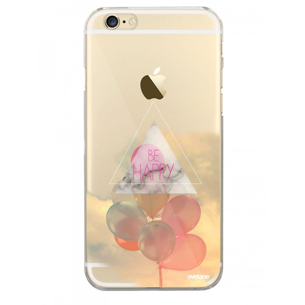 Coque iPhone 6 iPhone 6S rigide transparente, Be happy, Evetane®