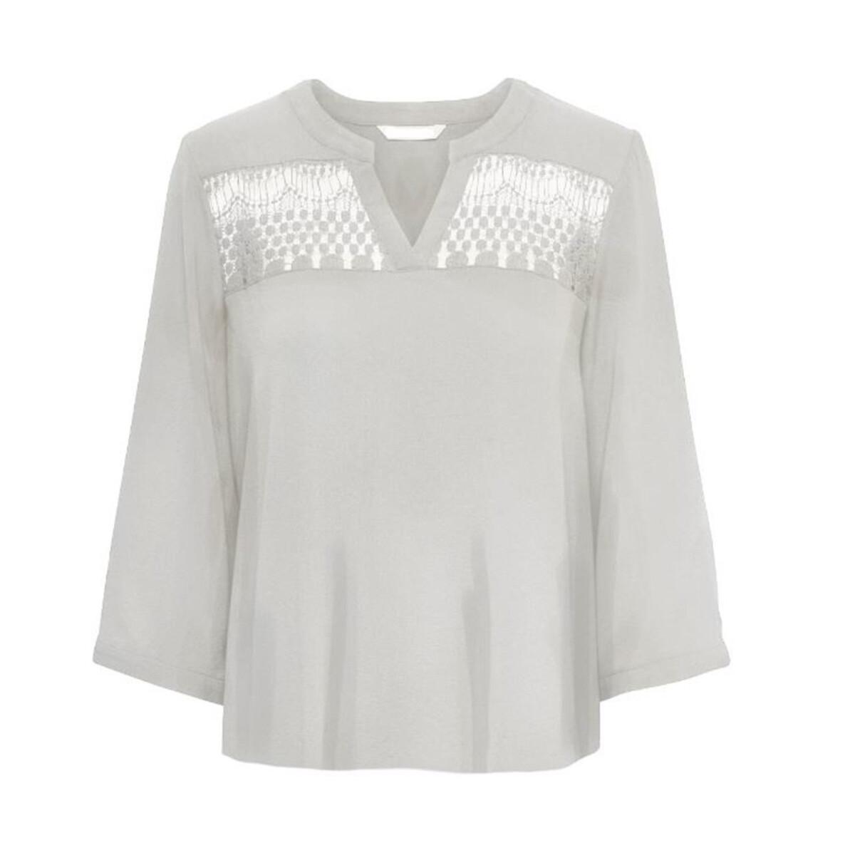 Блузка La Redoute С рукавами V-образным вырезом и вставками из кружева L бежевый