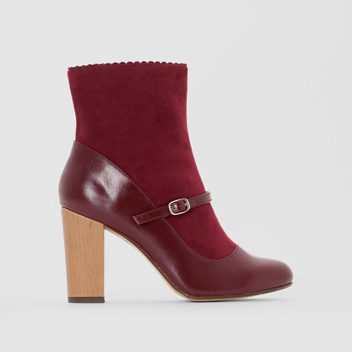 Ботильоны кожаные, каблук под деревоПодкладка : кожа и текстиль     Стелька : кожа     Подошва : эластомер     Высота каблука : 8,5 см.     Форма каблука : широкий     Мысок : закругленный     Застежка : молния сбоку     Марка: Mademoiselle R.<br><br>Цвет: красный темный<br>Размер: 38