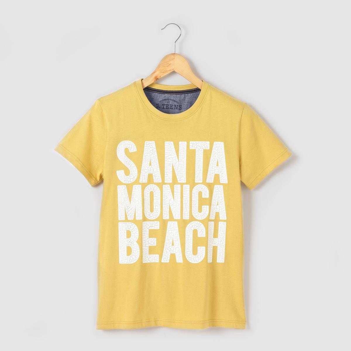 Футболка Santa Monica Beach на  10-16 летФутболка с короткими рукавами из джерси. Круглый вырез. Рисунок Santa Monica Beach с эффектом потрескавшейся краски спереди.    Полумесяц из шамбре с внутренней стороны. Состав и описаниеМатериал: 100% хлопкаУХОДСтирать и гладить с изнаночной стороныМашинная стирка при 30 °C с вещами схожих цветовМашинная сушка запрещенаГладить при умеренной температуре.<br><br>Цвет: желтый<br>Размер: 16 лет